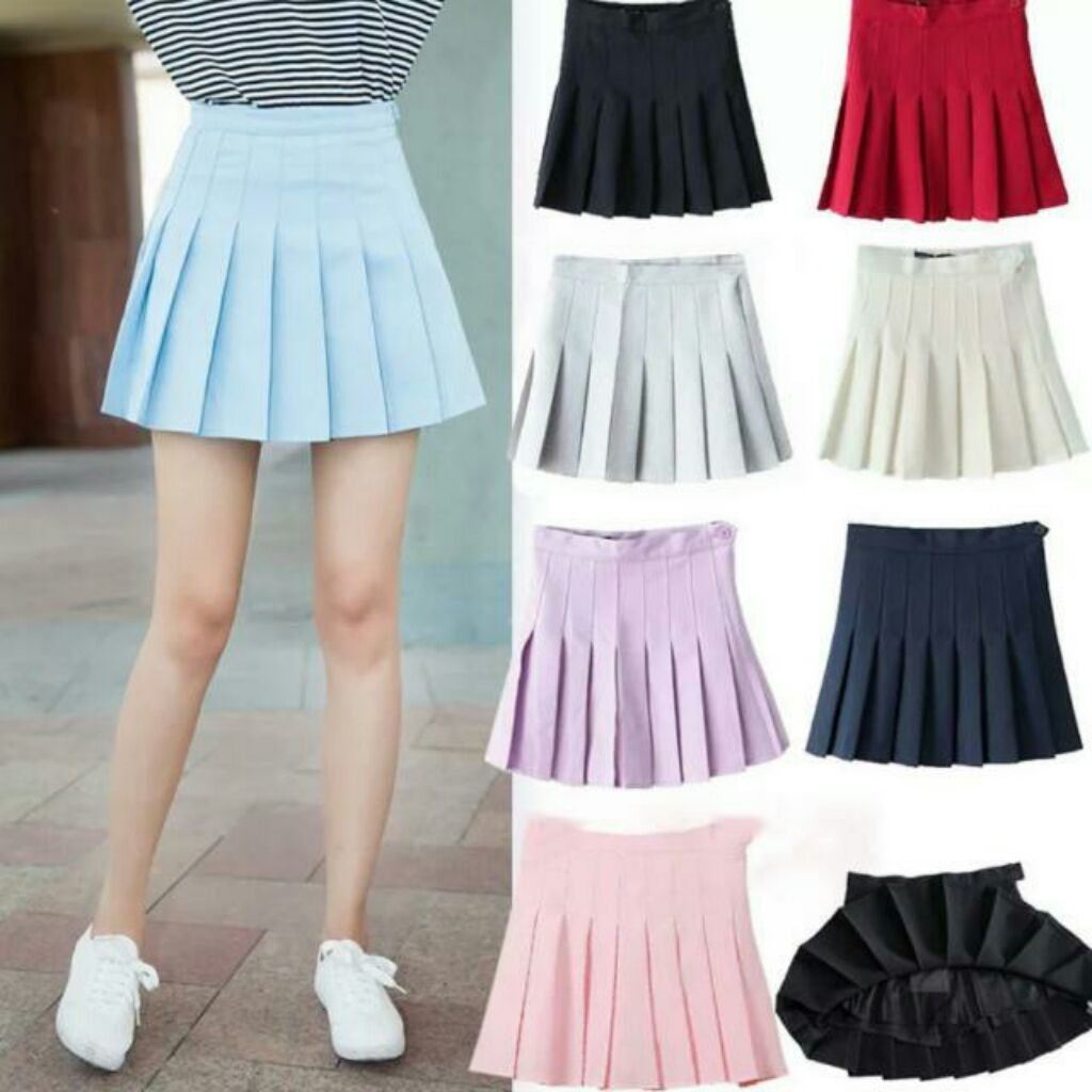 Po Korean Style High Waist Tennis Skirt In 9 Colours With Safety Shorts Shopee Singapore