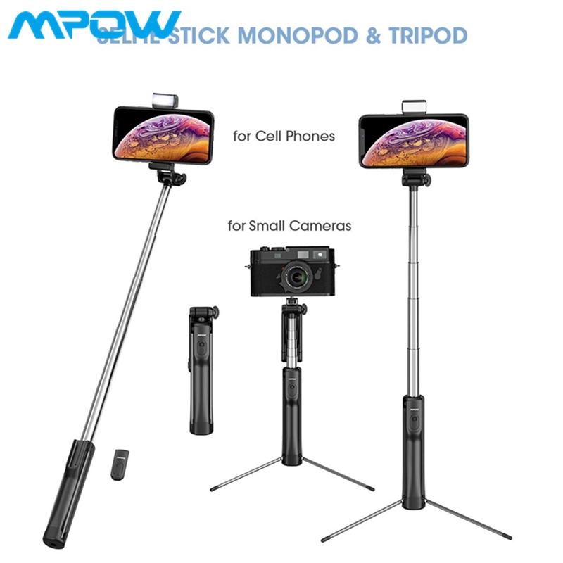 Mpow Selfie Stick Phone & Camera Tripod Selfie Stick Monopod with 3 Level  Fill Light Bluetooth Remote