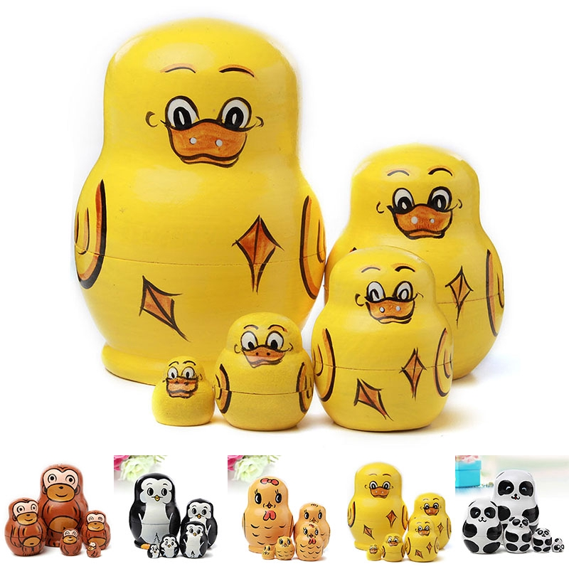 5 Layer Dolls Animal Nesting Wooden Duck Panda Chick Monkey Penguins Toy