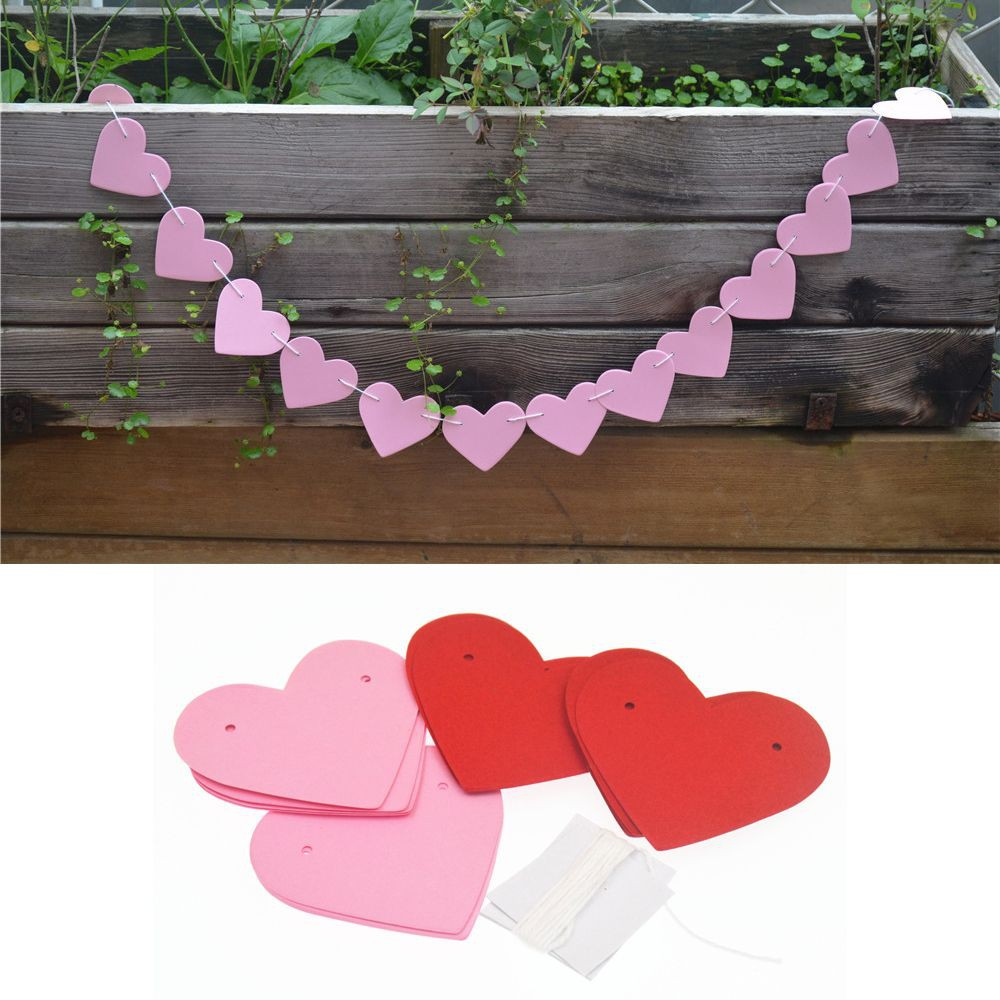 1m Garland Strings Country Cardboard Bridal Party Heart Shaped Wedding Hanging