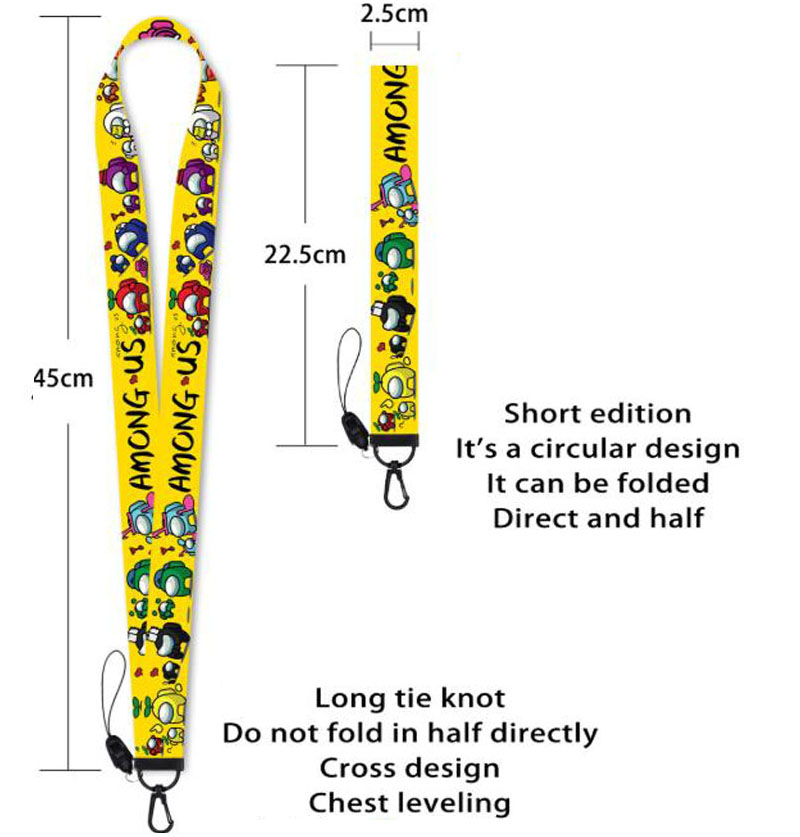 [Let's Trace Together] Among Us Lanyard Keychain Neck Strap for Cell Phone ID Card Holder Straps Rope Trace Together Lanyard