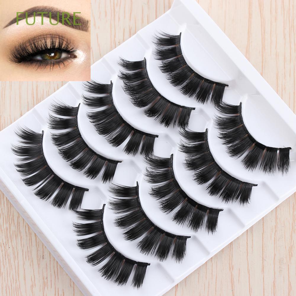 34f4646b8a5 SKONHED 5 Pairs Beauty Makeup Long Lashes Handmade Natural False Eyelashes  | Shopee Singapore