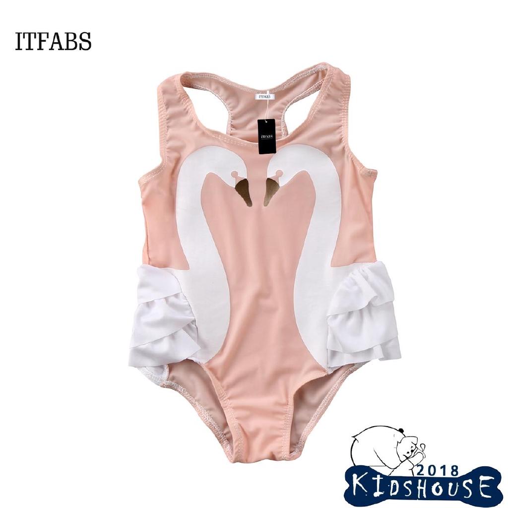 Toddler Kids Baby Girls Swimwear Swimsuit Swan Tulle Bathing Suit Tankini Bikini