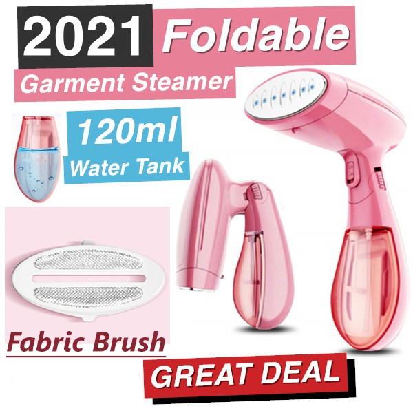 Image result for 2021 Upgraded Foldable Handheld Garment Steamer - Portable Steam Electric Mini Iron 1300W Pink
