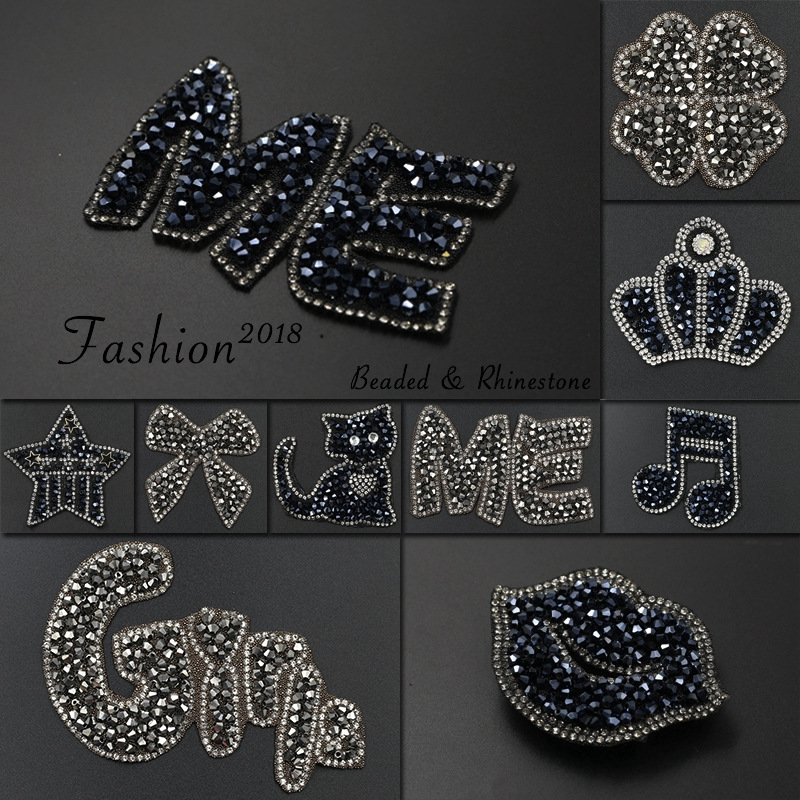 Rhinestone Beaded Crystal Diamante Motif Sew On Applique Patch for Jeans Clothes