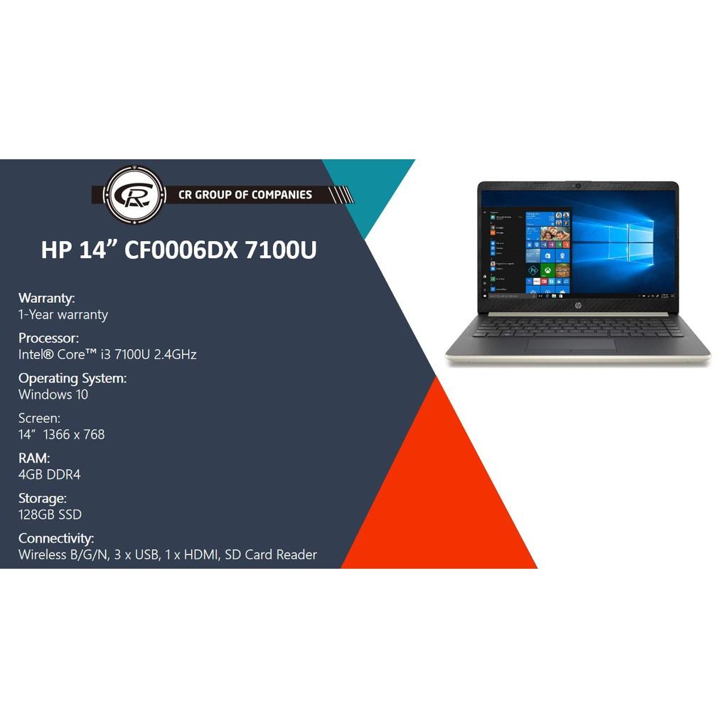 Hp Notebook 14 Cf0006dx Intel Core I3 7100u 4gb Ddr4 Ram 128gb Ssd Storage Refurbished Shopee Singapore