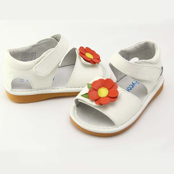 Freycoo - White Claire Squeaky Toddler Shoes