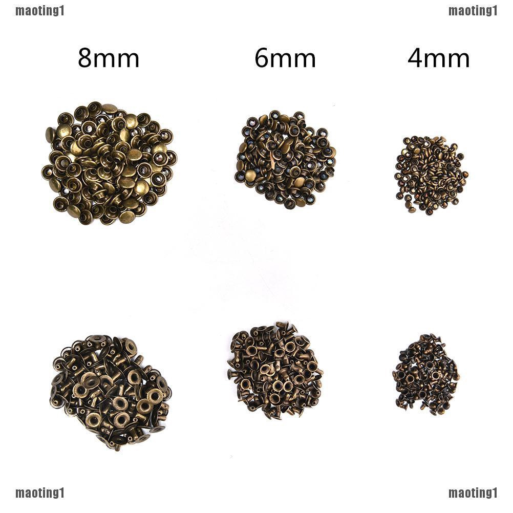 New Brass Double Cap Leather Craft 100X 3 Sizes DIY Rapid Rivet Studs for Belts