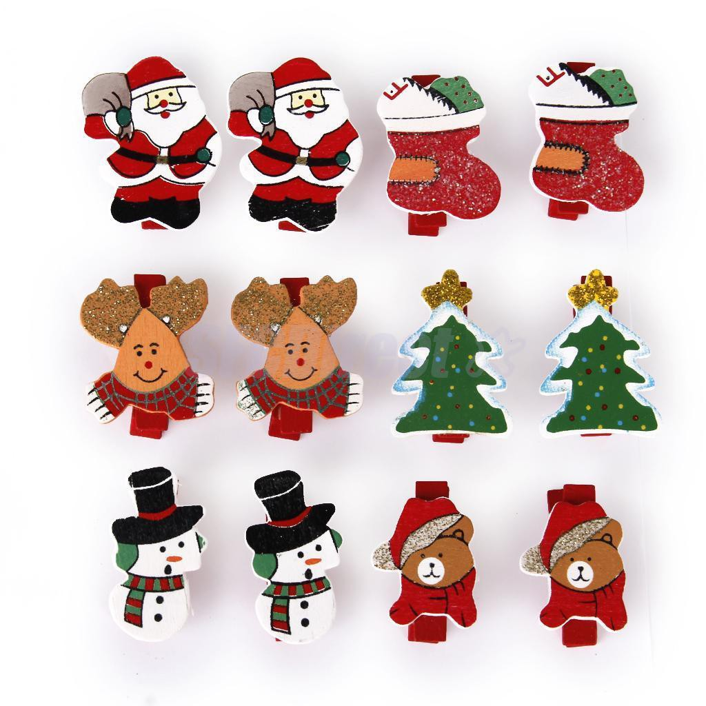 30 PCS Christmas Wooden Clips,Christmas Tree Santa Claus Snowman Craft Clips Mini Hanging Photo Paper Peg Clips for Christmas Home Decoration