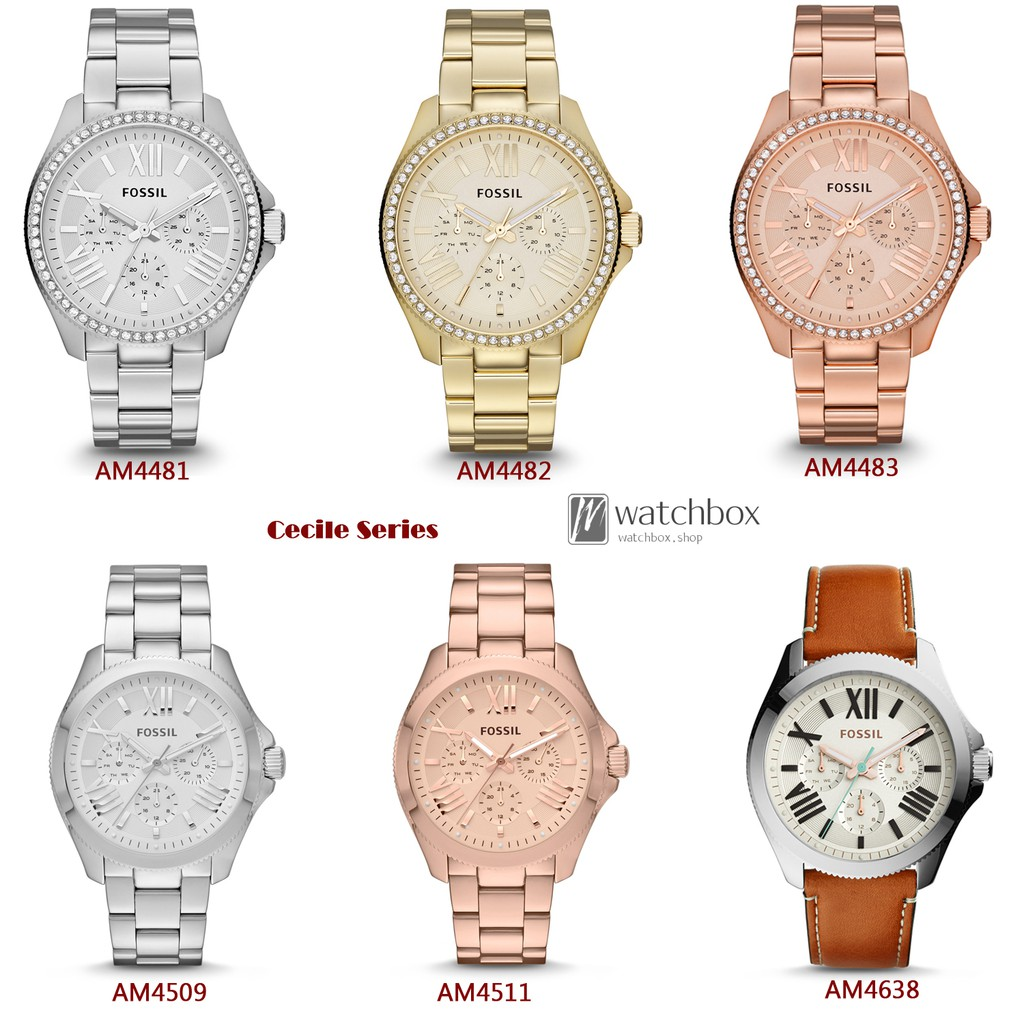 Original Fossil Watch Jacqueline Women Leather Stainless Steel Es3737 Jam Tangan Wanita Shopee Singapore