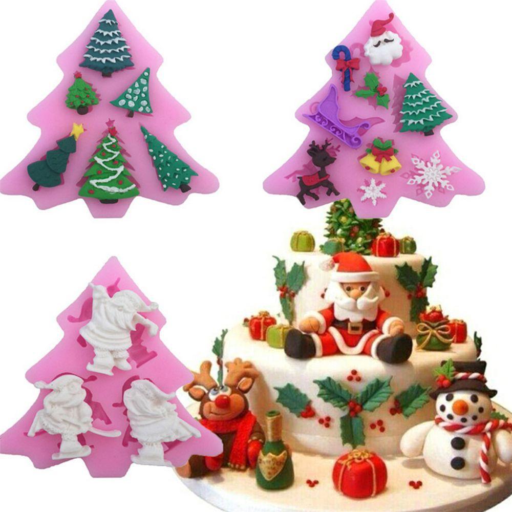 Chocolate Fondant Decorating Snowflake Cake Mold Silicone DIY Christmas Tree