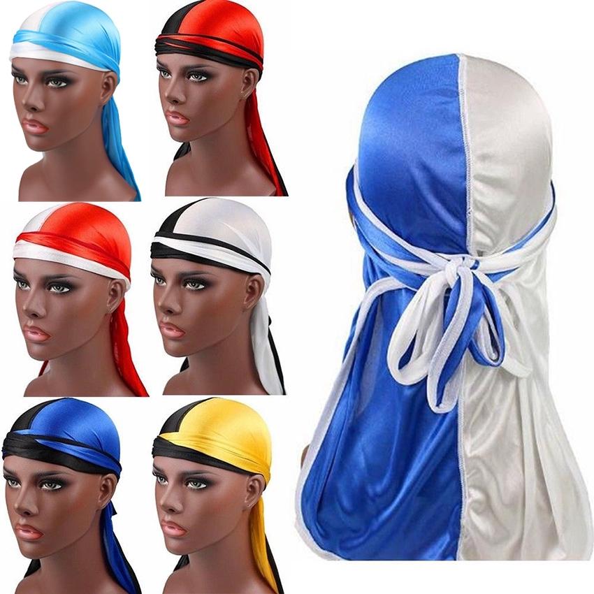 Unisex Men Women Silk Nylon Breathable Bandana Hat Turban Cap Doo Durag Headwear