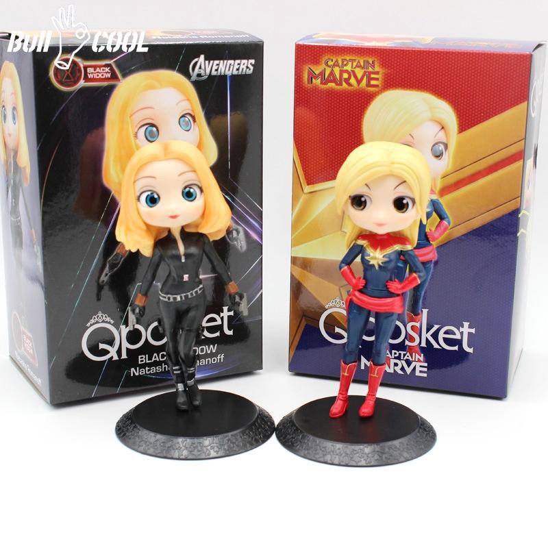 Q Posket Black Widow /& Captain Marvel PVC Figure New No Box 13cm