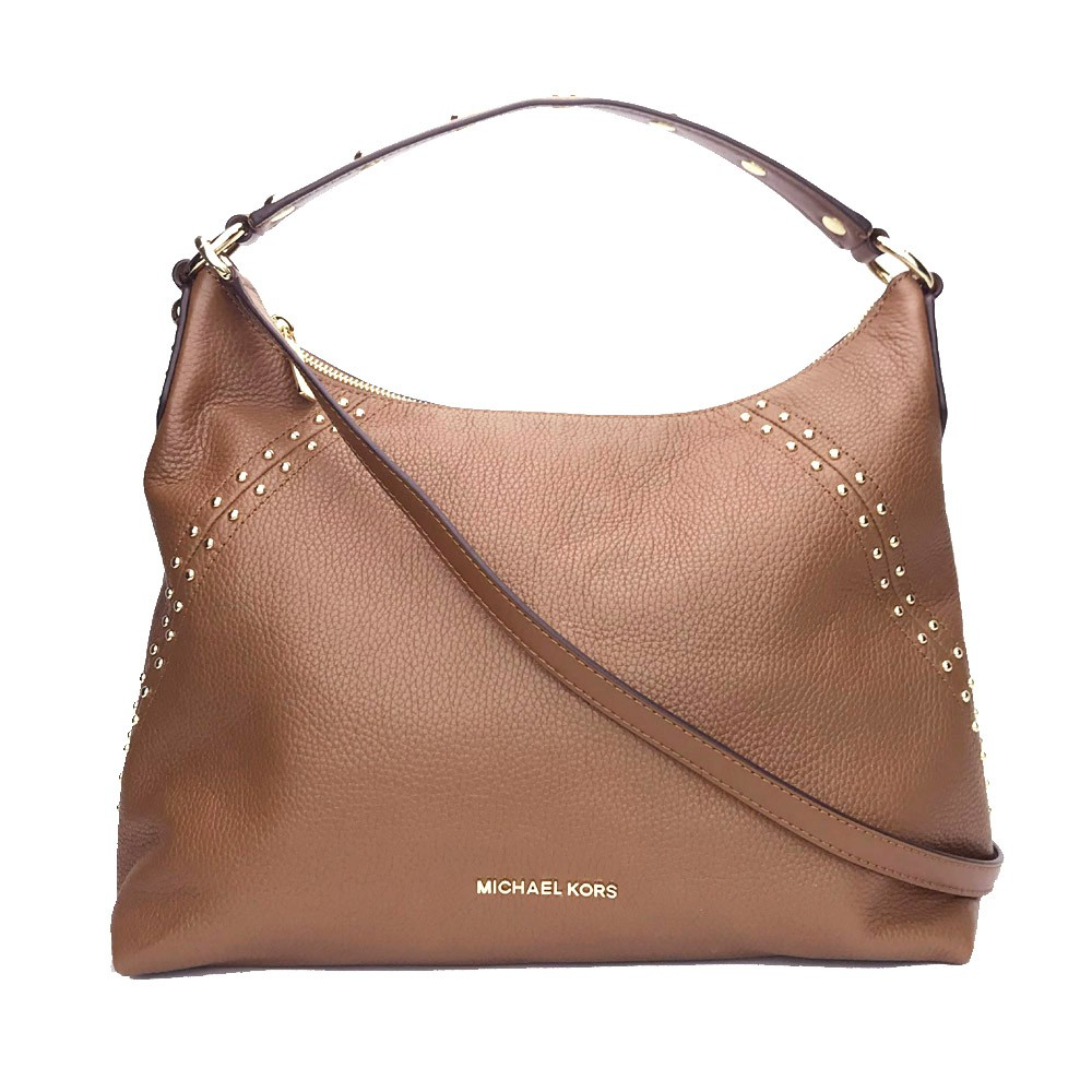 a011a1a100edfb Michael Kors Studdded Aria Medium Top Zip Shoulder Bag Cross body Bag  Luggage | Shopee Singapore