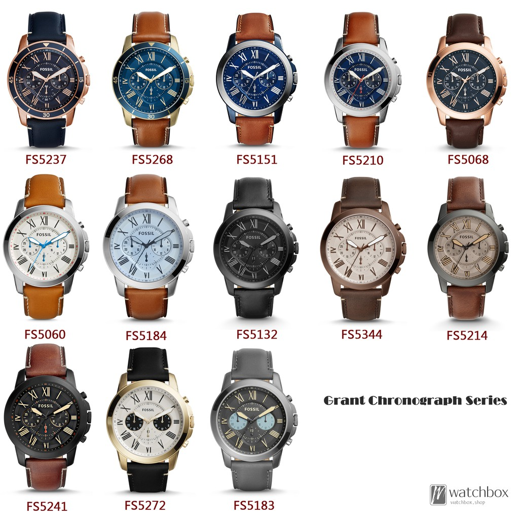 Original Fossil Watch Grant Chronograph Leather Men 44mm Fs5182 Set Quartz Shopee Singapore