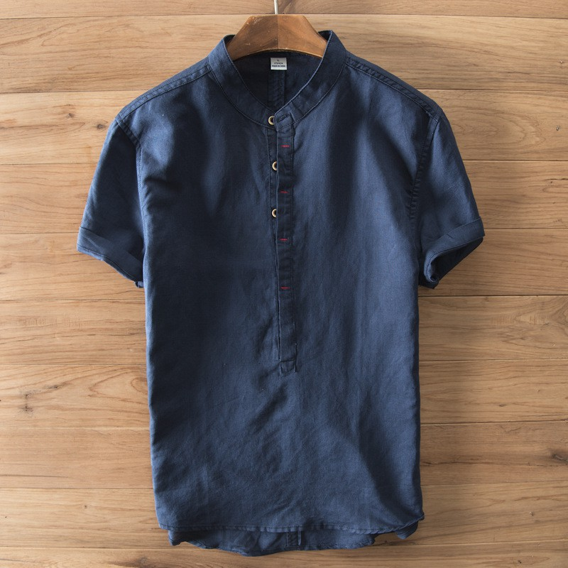 Shirts 2019 Latest Design Incerun 2019 Men Casual Shirt Button Half Sleeve Solid Color Loose Tops Retro Camisa Chinese Style Shirts Men Clothes Streetwear We Have Won Praise From Customers