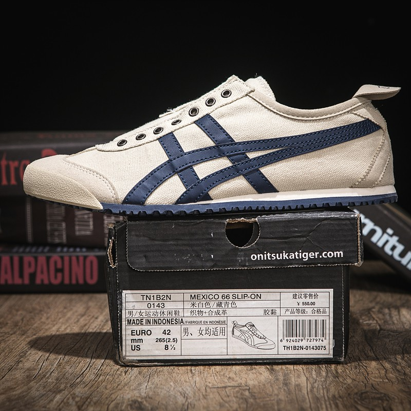 the best attitude 0ea15 09b1f Onitsuka Tiger Breathable Canvas Shoes Beige Navy Blue