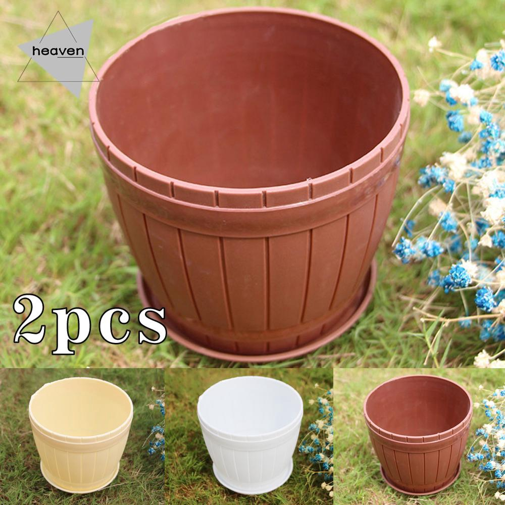 2pcs Plastic Flower Plant Garden Indoor Outdoor Herb Planter Pots With Tray Shopee Singapore