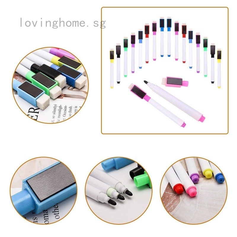 3pcs//Set Black Whiteboard Marker Pen Erasable Dry with Magnet and Eraser Office