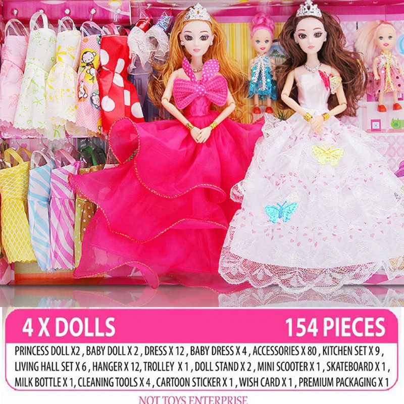 aca176e0d 154 pcs 9D Princess Barbie Doll Set Gift Box Fantasy Dress Up Doll A12  style | Shopee Singapore