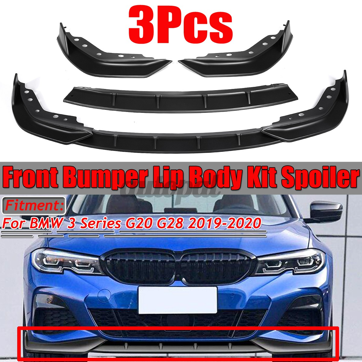 For Bmw 3 Series G20 G28 2019 2020 Front Bumper Lip Body Kit Spoiler Splitter Matte Black Shopee Singapore