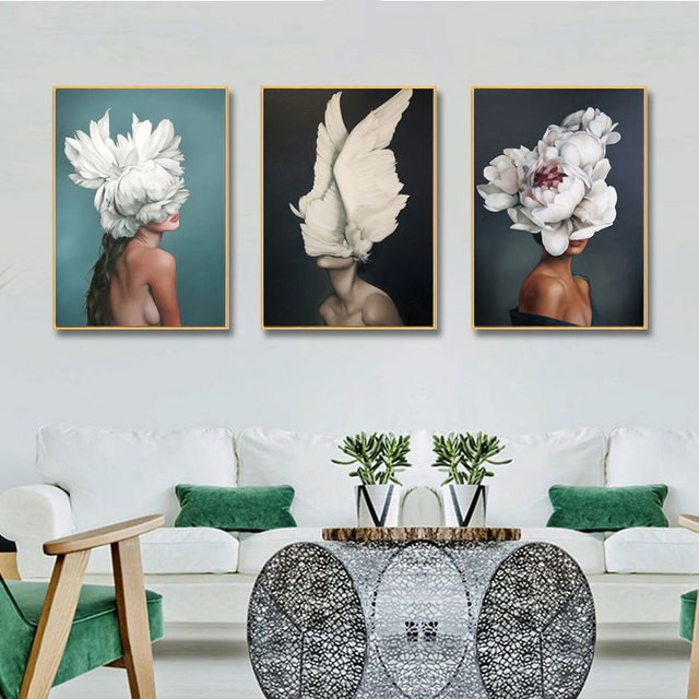 Bluesuntree Wall Art Modern Style Decorative Painting Creative Body Art Beauty Feathers With Frame Thick Canvas Hd Printing For Home Wall Decor Beauty Salon Spa Club Decor Shopee Singapore