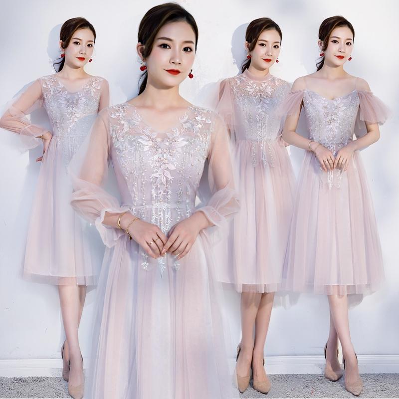Pink Bridesmaid Dress Lace Short Sleeve
