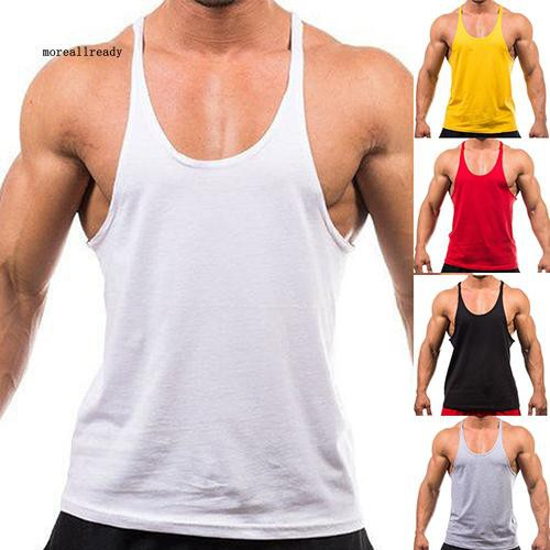 HUALA Mans Cotton Solid Color Crew Neck You Can Do It Gym Tank Undershirts
