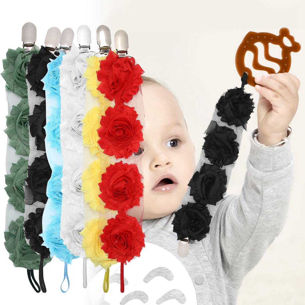 Baby Girls Boys Flower Pacifier Dummy Clip Teething Soother Holder Chain New