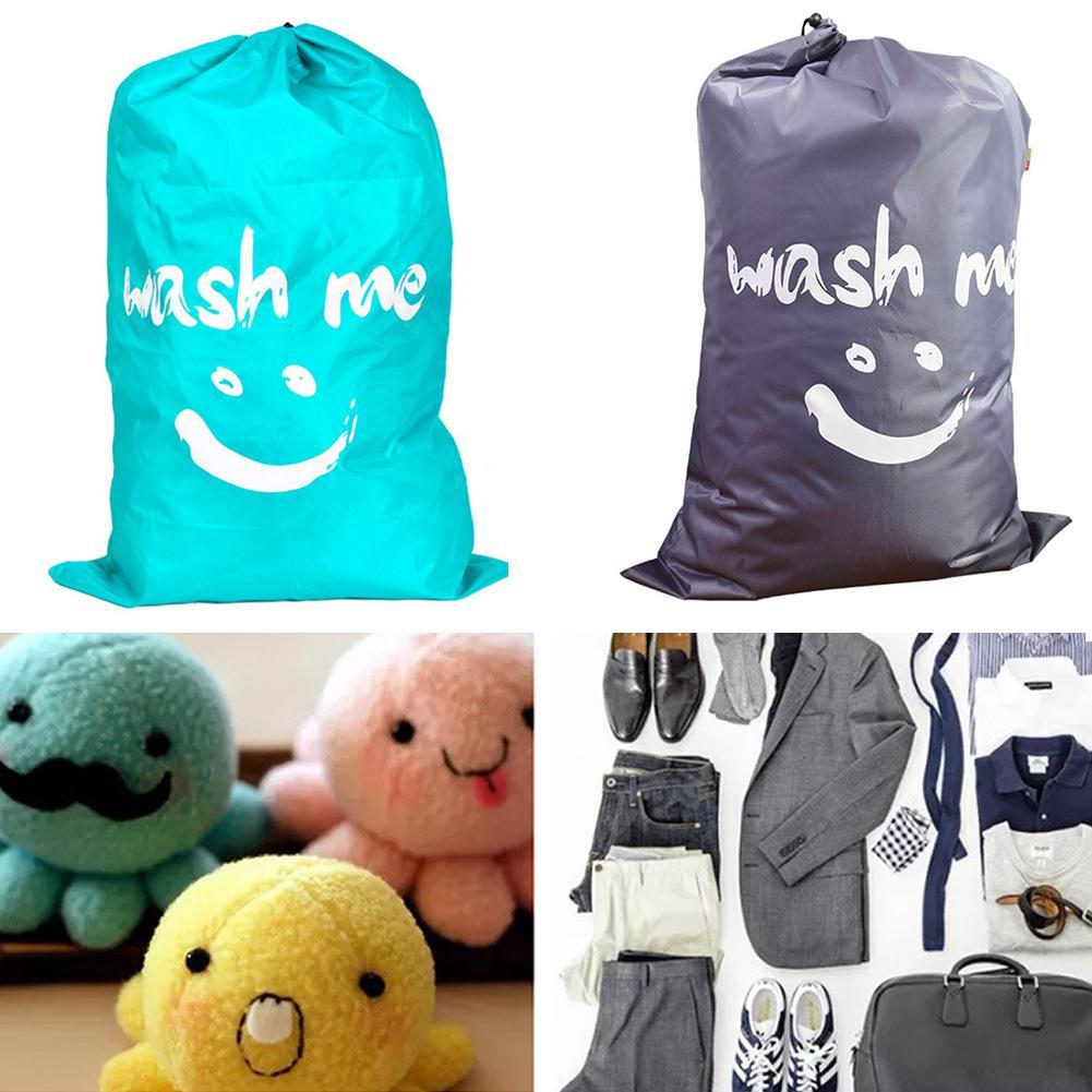 Hamper Drawstring Storage Nylon Home Dirty Clothes Bathroom Foldable Laundry Bag