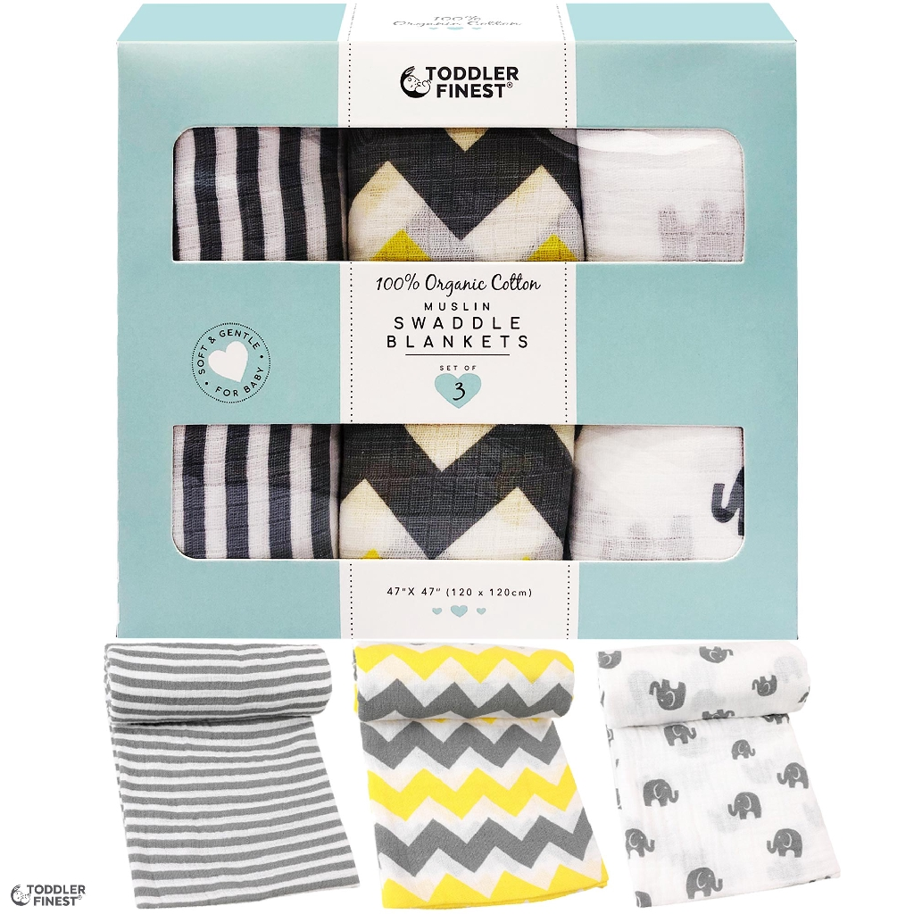 4pcs Baby Swaddle Blankets,Muslin Breathable Soft Cotton Adjustable Burp Coth Blankets Receiving Wrap for Newborn Boys Girls 47 x 47 inches