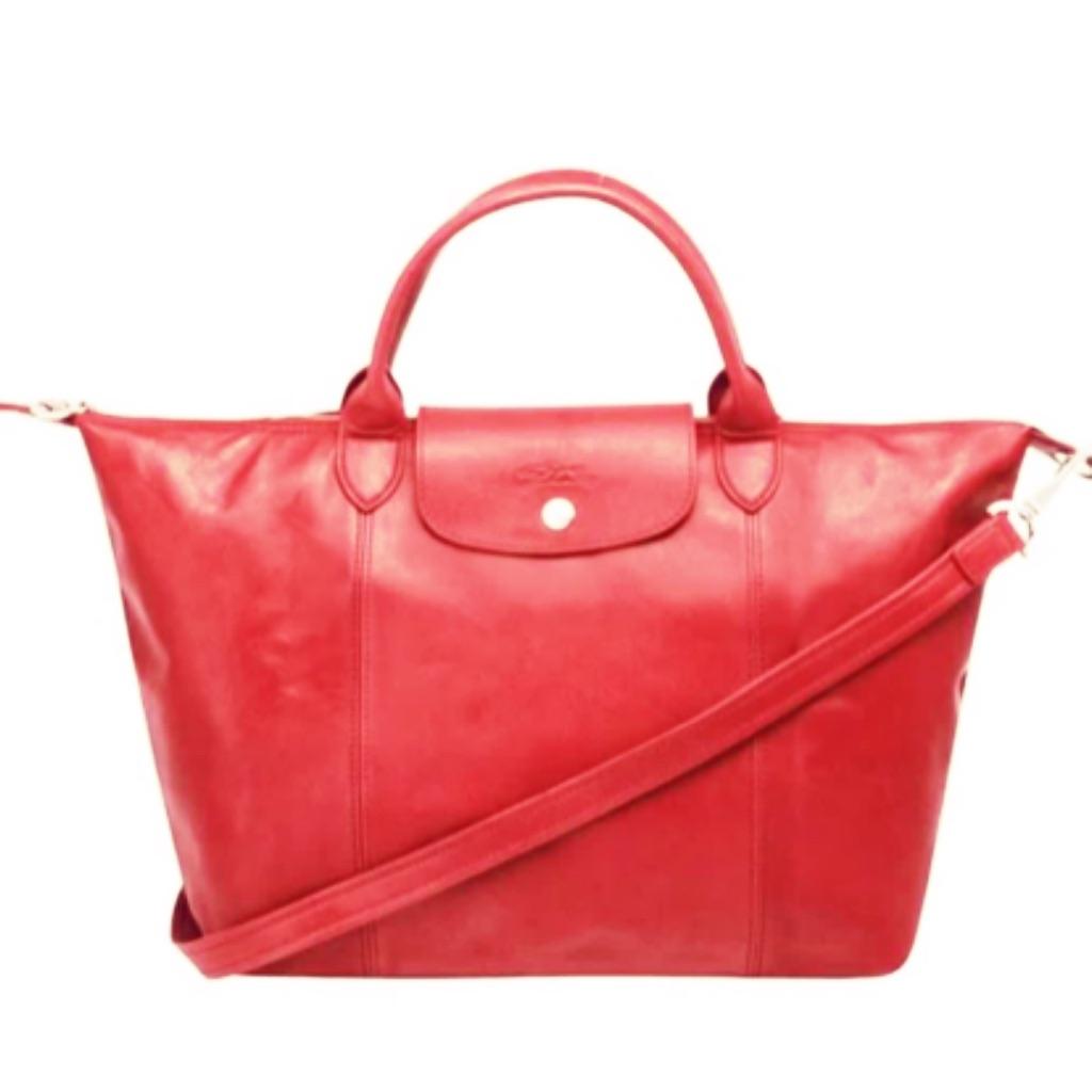 ce6265b667d9 Longchamp leather le pliage cuir crossbody bag (100% authentic ...