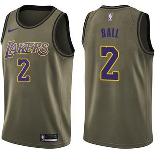 buy popular 1e20d 4b3d9 Nice Nike Lakers #2 Lonzo Ball Green Salute to Service NBA Swingman Jersey  Outlet