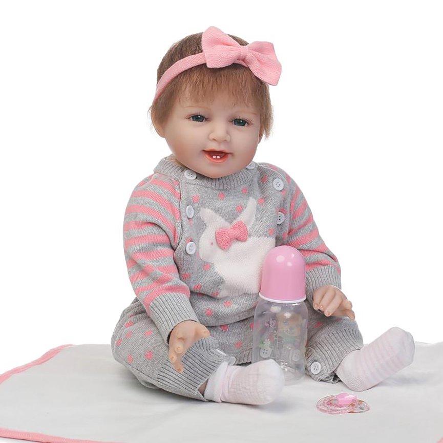 c3faf45a37fe 57CM Lifelike Reborn Baby Dolls White Skin Babies Doll Full Vinyl ...