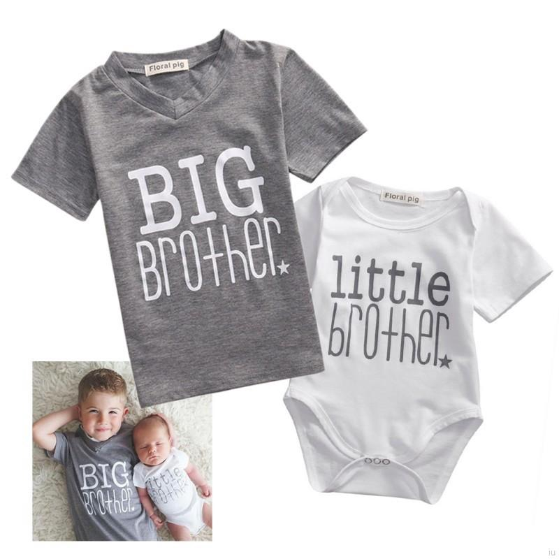 Family Matching Little Brother Baby Boy Rompers Big Brother T-shirt Tops  600567db6751