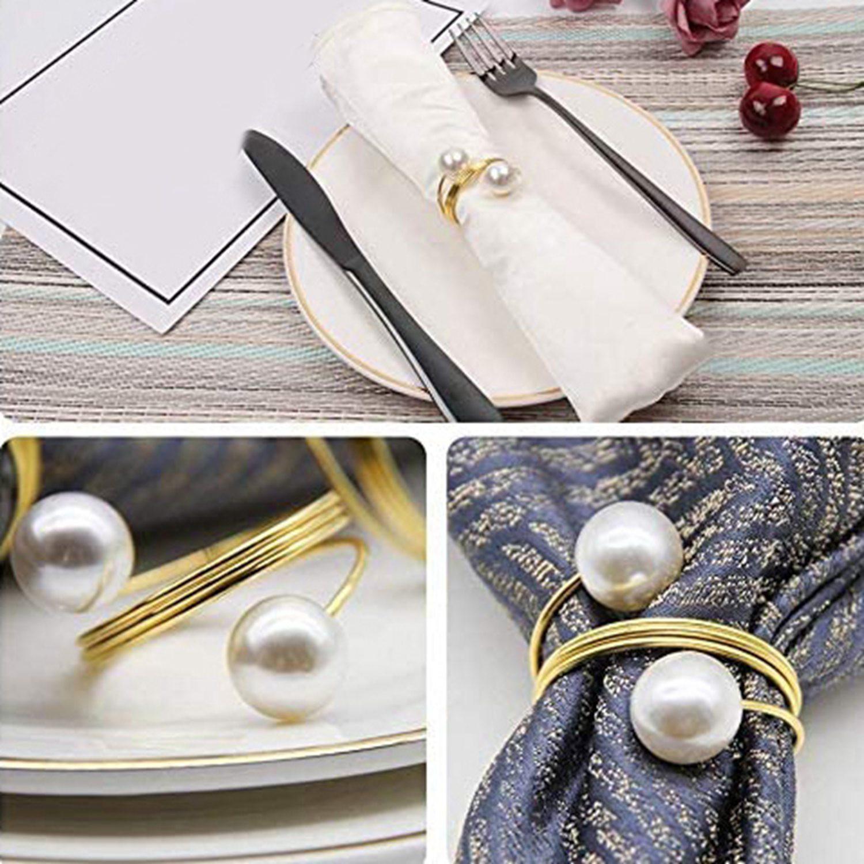24pcs Pearl Napkin Rings Wedding Napkin Rings Metal Reusable Decorative Golden Napkin Rings For Dining Table Decoration Shopee Singapore