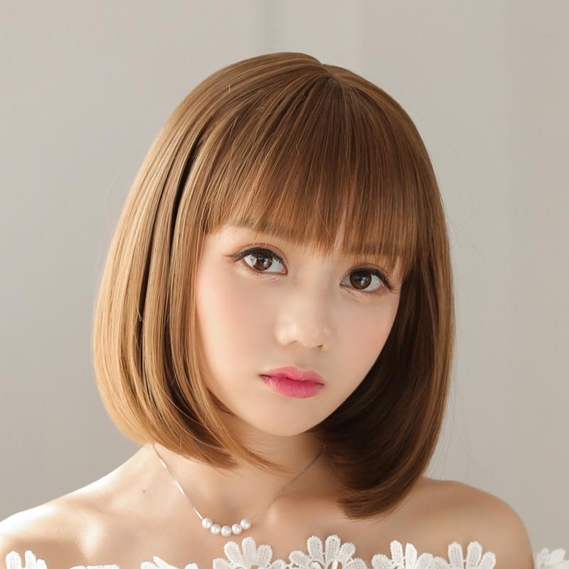 Wig Female Short Hair Full Hood Straight Bobo Head Air Qi Liu Hai Pear Realisti Shopee Singapore