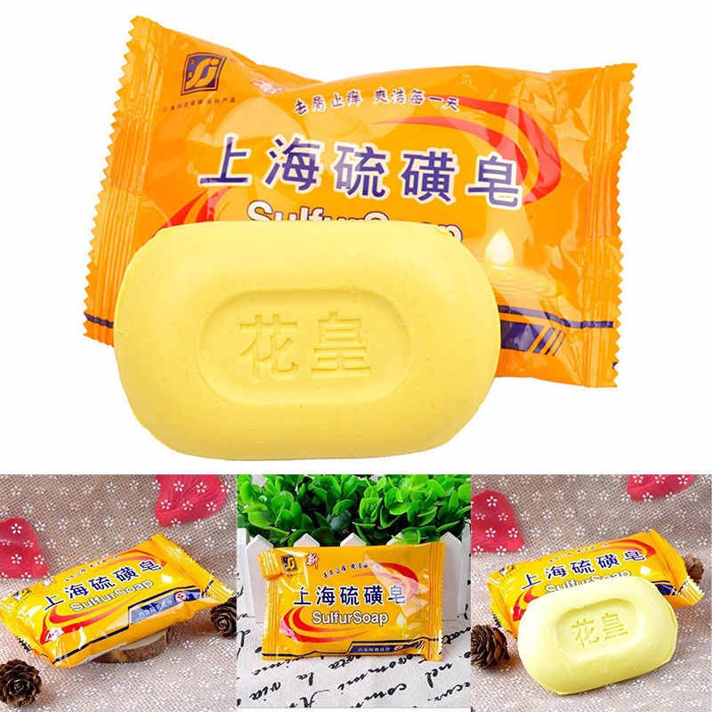 1pcs Acne Mite Soap Fungus Eczema Bacteria Skin Blackhead Sulfur Anti Body Cleansing Sulphur Soap Bath Shower Supplies Cleansers
