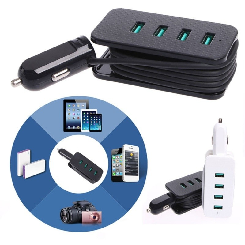 Portable Universal 4-Port USB Car Charger Adapter Output 5V 4.8A With Cable | Shopee Singapore