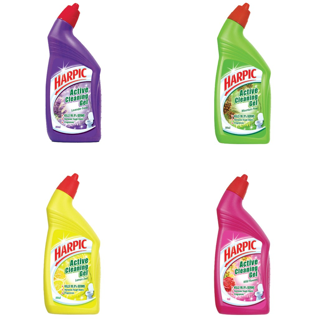 Harpic Active Cleaning Gel 2x500ml Free 400ml Lemon Zest Shopee