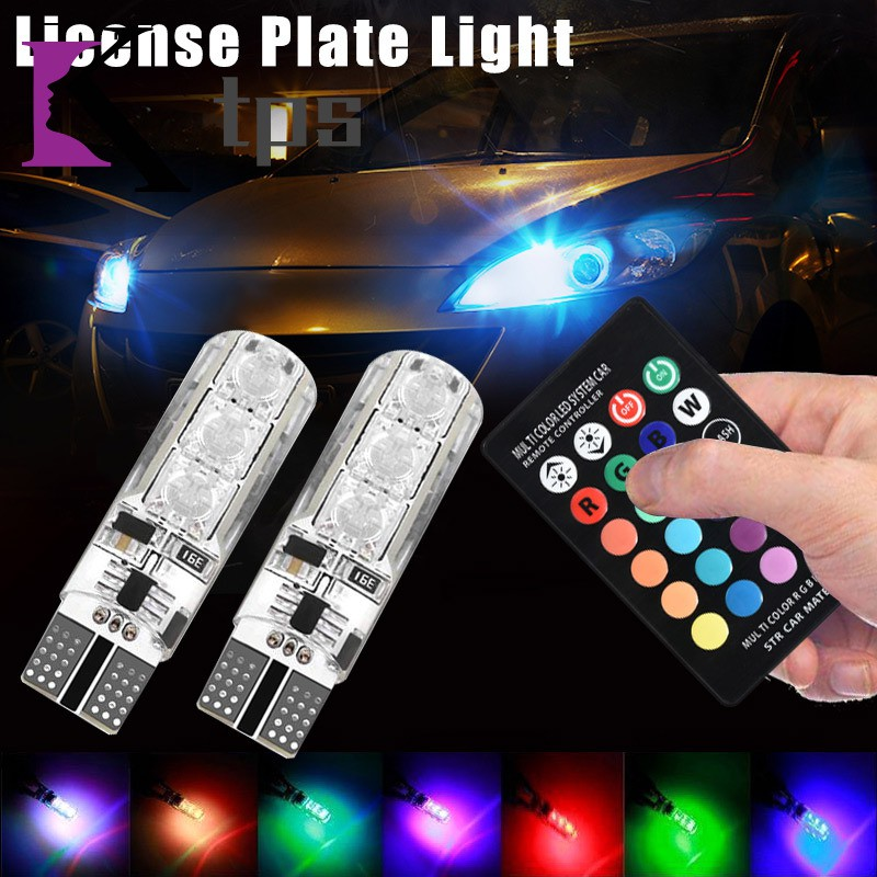 2 x LED Car Side Light With Remote Controller Infrared RGB 6 Smd Memory Function