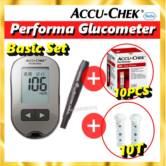 Accu Chek Performa Blood Glucose Monitoring Meter + Lancing Device + 10 Test Strips Free