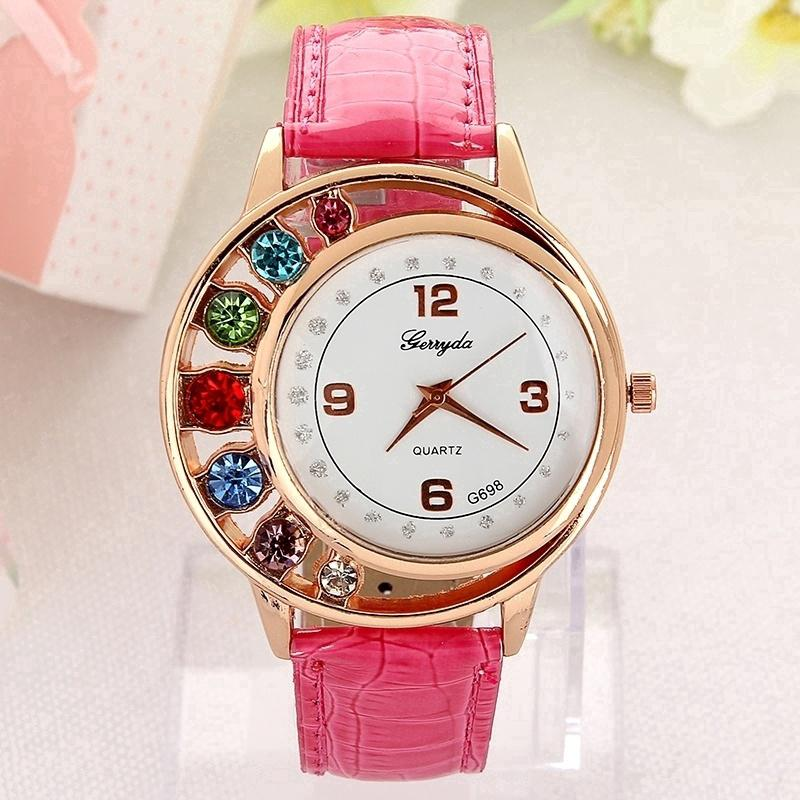 5f3bfc928d9 Fashion Crystal Women Ladies Girls Dress Leather Bracelet Quartz Wrist Watch