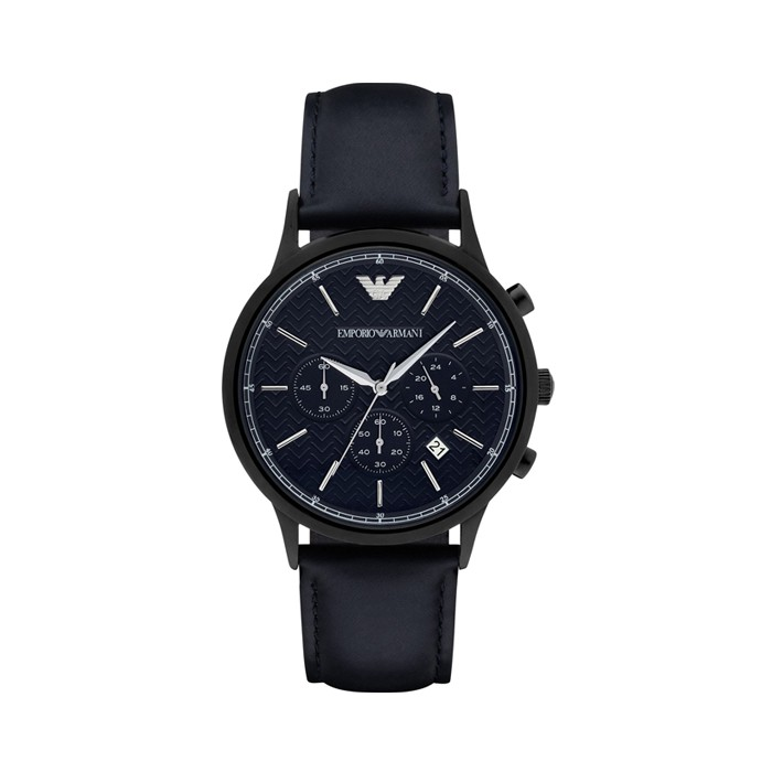 d41bd84fe494e Emporio Armani AR2481 Blue Herringbone Pattern Dial Chronograph Leather  Watch   Shopee Singapore