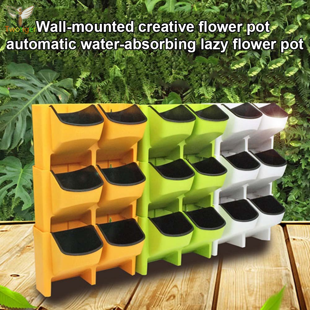 Self Watering Flower Pot Stackable Vertical Planter Wall Hanging Durable For Garden Balcony Shopee Singapore