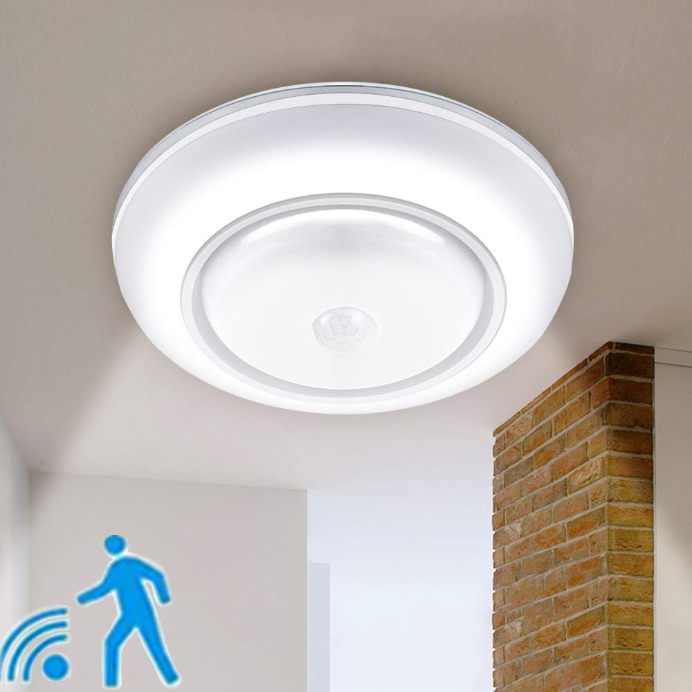 Wireless Motion Sensor Ceiling Light Battery Operated Sensing Activated Led Lamp Entrance Closet Stairs Hallway Garage Bathroom Shopee Singapore
