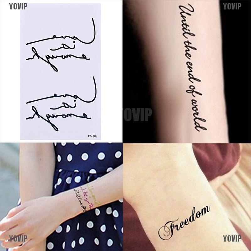 Yovip New Multi Pattern Letter Temporary Removable Waterproof Tattoo Body Art Stickers Shopee Singapore