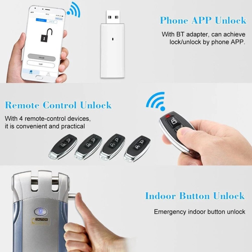 Home Use Anti-theft Fingerprint Password Electric Wireless Remote Control  Zinc Alloy Energy Saving Door Lock