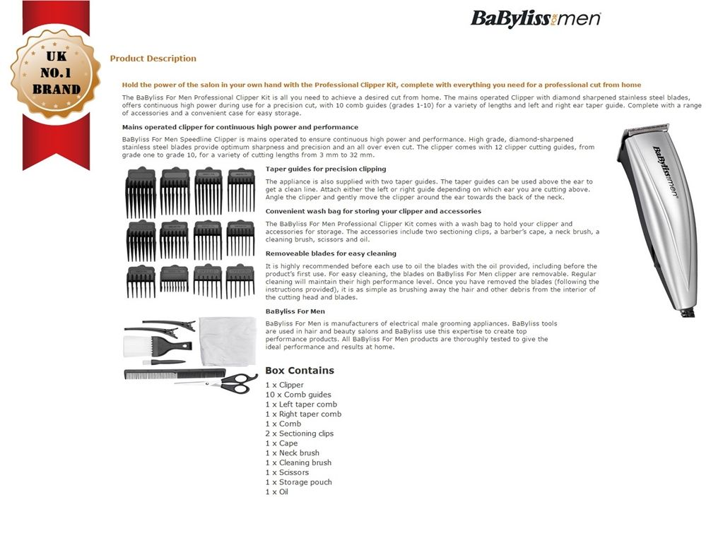 BABYLISS 7432U Mains Operated Hair Clipper with 22-Piece