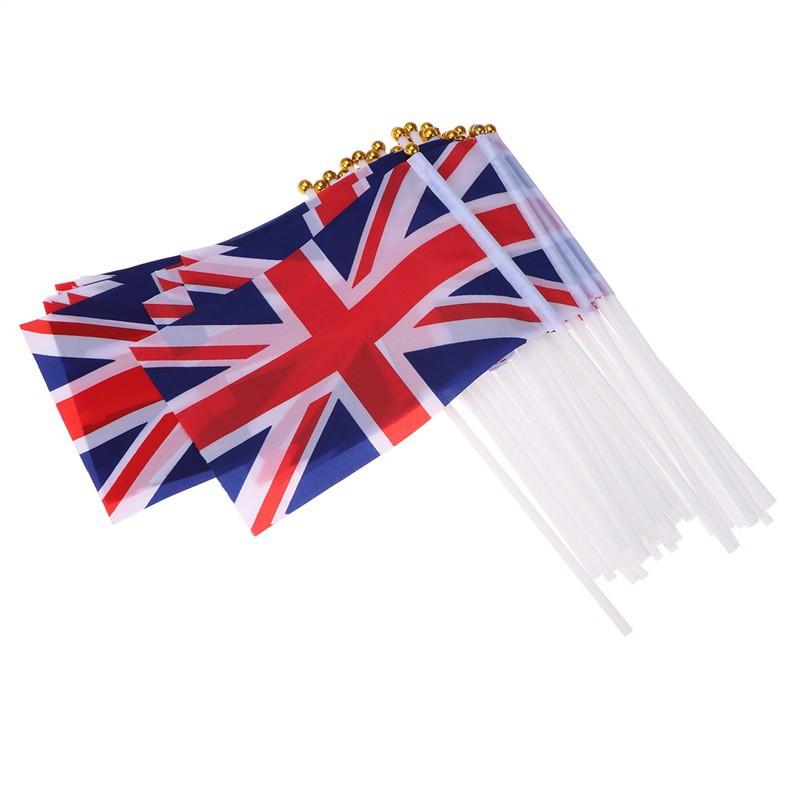 50pcs Royal Jubilee GB Great Britain Flags Union Jack Hand Waving Flag Decor UK